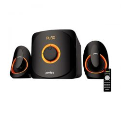 "PERFEO КОЛОНКИ PF-3313 ""MARS"", 2.1 мощн 22W+10W*2, Bluetooth, AUX, FM, USB/SD, ПДУ, чёрный"